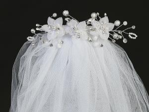 "24""  Organza Flower and Pearl Veil on Comb Communion Headpiece"