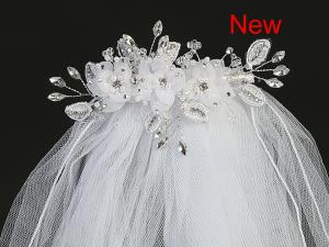 "24""  Organza Flower and Rhinestone  Veil on Comb Communion Headpiece"