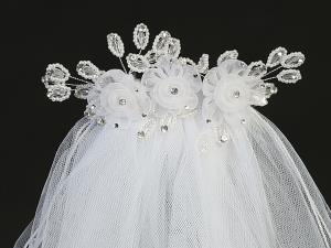 "24""  Organza Flower and Crystal  Veil on Comb Communion Headpiece"