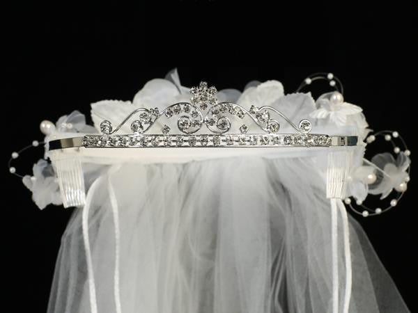 "Rhinestone Tiara with flowers and 24"" veil"