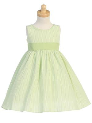Girls Lime Striped Seersucker Dress