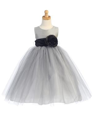 Girls Silver Silk and Tulle Flower Girl Dress