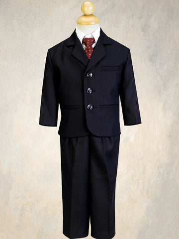 Boys 5Pc Navy Pinstripe Formal Suit
