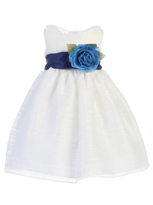 Girls Striped Organza Flower Girl Dress