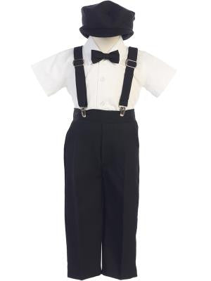Boys Black Suspender Pant Set