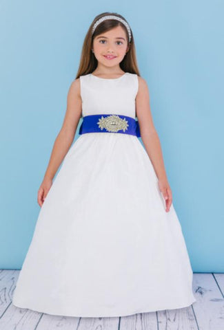 Girls Silk Dupioni Floor Length Dress