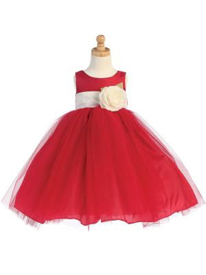 Girls Red Silk and Tulle Flower Girl Dress