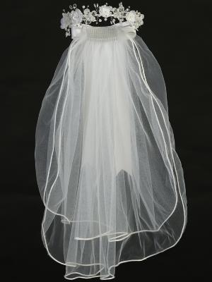 "24"" Holy Communion Organza and Crystal Flower Veil"