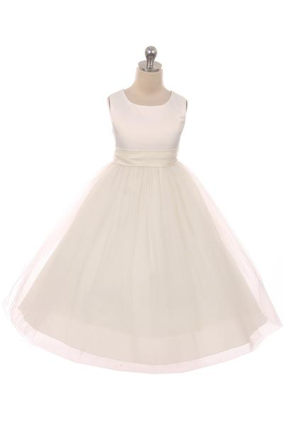 Girls Satin Sash Bow Flower Girl Dress