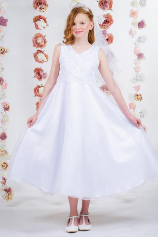 Lace Applique Bodice Full First Communion Dress