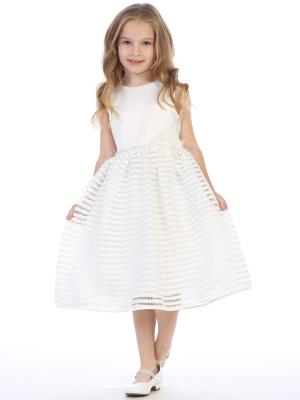 Girls Striped Netting Flower Girl Dress