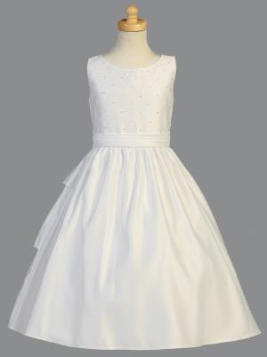 Girls Pearled Bodice Communion Dress
