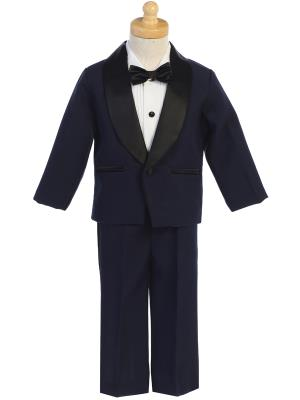 Boys Navy One Button Tuxedo
