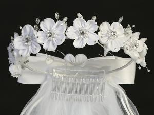 "24"" Holy Communion Veil with Large  Satin Flowers"