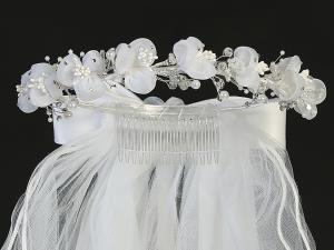"24"" Holy Communion Veil With Organza Flowers"