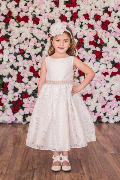 Girls Lace V Back Bow Dress