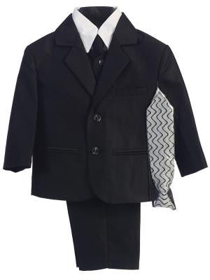 Boys Black Herringbone Pattern Two Button Suit