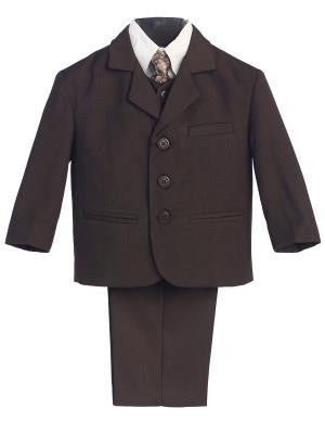 Boys 5pc Brown Formal Suit