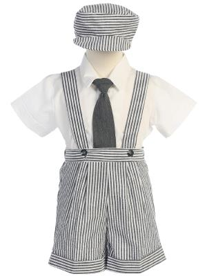 Boys Seersucker Suspender Short Set