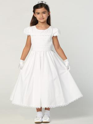 Smocked Cotton Communion Dress