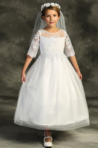 Girls Cording Lace Waterfall First Communion Dress
