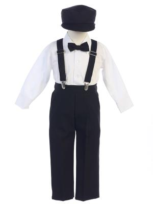 Boys Long Sleeve Suspender Set with Pants