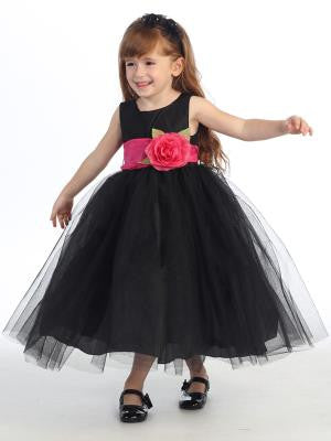 Girls Black Silk and Tulle Flower Girl Dress