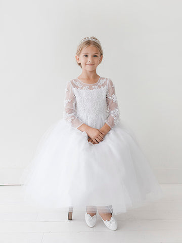 Girls Long Illusion Neckline Communion Dress