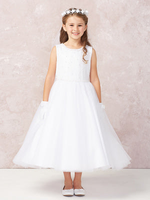 Girls Sequin and Pearl Bodice Dress