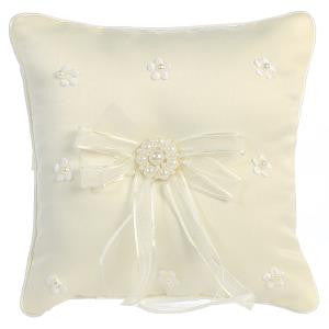 Satin and Pearl Ring Bearer Pillow