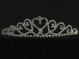 Rhinestone Tiara With Heart Center