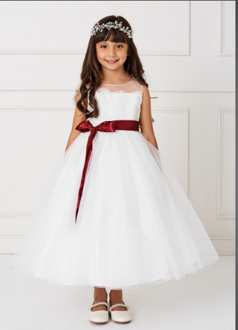 Illusion Neckline Flower Girl Dress