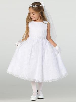Embroidered Tulle Communion Dress