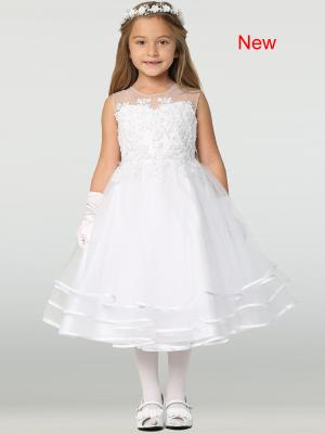 Girls Beaded Tulle First Communion Dress