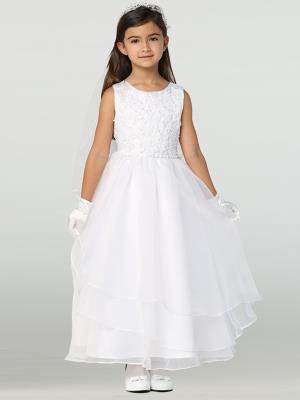 Girls Embroidered Applique and Organza Dress