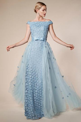 Off Shoulder Evening Gown with Train