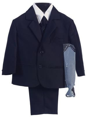 Boys Navy Herringbone Pattern Two Button Suit