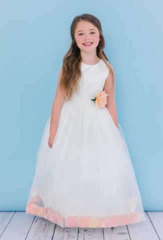 Girls Petal Hemline Long Length Flower Girl Dress
