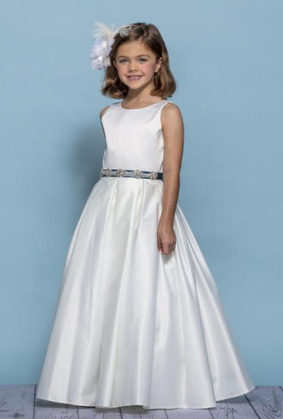 Girls Silk Full Length Flower Girl Dress