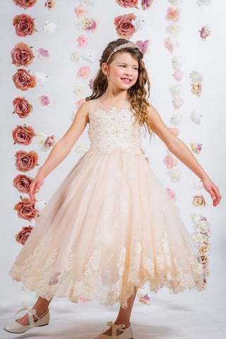 Lace Applique Illusion Bateau Flower Girl Dress