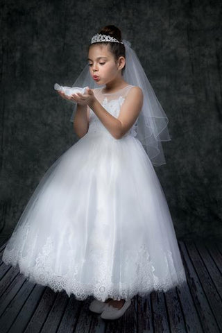 First Communion Lace Applique Illusion Bateau Dress