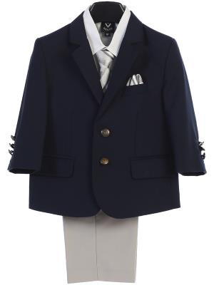 Boys Navy and Grey Suit