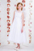 Girls Hand Beaded Organza Overlay First Communion Dress