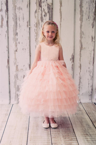 Girls Pink Mesh Layer Princess Style Dress