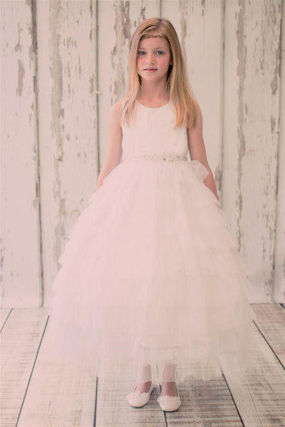 Girls Ivory Mesh Layer Princess Style Dress