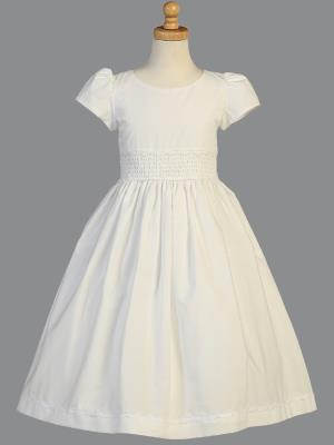 Girls Smocked Cotton Communion Dress