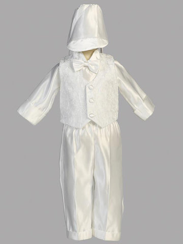 Boys Christening Embroidered Vest Romper