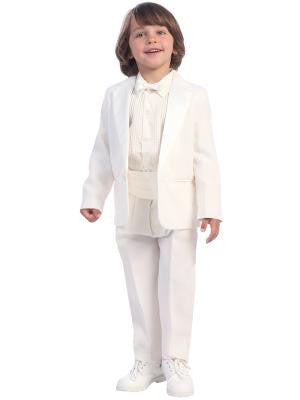 Boys White One Button Tuxedo