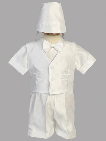 Boys Cross Embroidered Shantung Christening Set