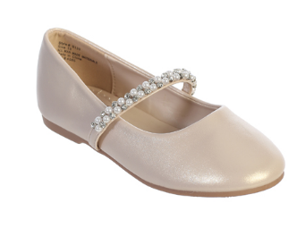 Girls Leather Pearl Strap Shoe